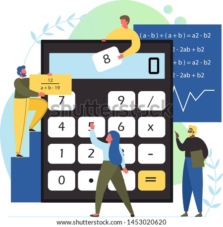 Math class, vector flat style design illustration. Tiny characters doing sums using big calculator, mathematical formulas. Mathematics science, education concept for web banner, website page etc.
