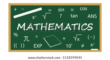 Math concept. Math elements on a school blackboard.