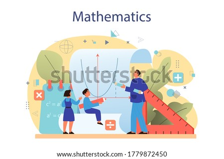 Math course concept. Learning mathematics, idea of education and knowledge. Science, technology, engineering, mathematics education. Isolated flat vector illustration