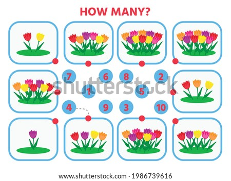 Math education for children. Count from 1 to 10. Flowers in the flowerbed. Education logic game for preschool kids. Vector Illustration Сток-фото ©