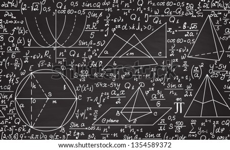 "Math educational vector seamless pattern with handwritten algebra calculations, geometry figures, formulas, tasks and equations, ""handwritten with chalk on a grey blackboard"""