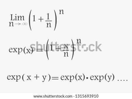 Math equation exponential function. Calculus of functions