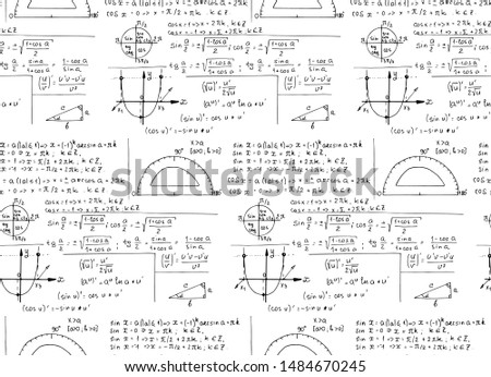 Math equations and formulas on whiteboard. Vector hand-drawn seamless pattern. Vintage education and scientific  background.