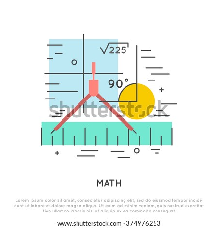 math flat and line vector