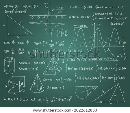 Math formulas. Chalk board background with algebraic and geometric graphs, functions and drawings. Doodles handwritten mathematical calculation. Trigonometry lesson. Vector exact science Foto stock ©