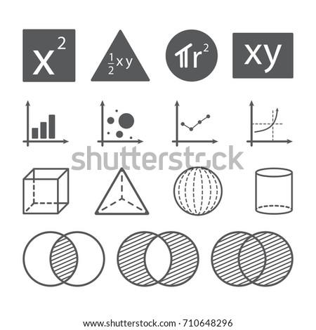 math icon concept, area square triangle circle rectangle, chart graph, shape, set operation