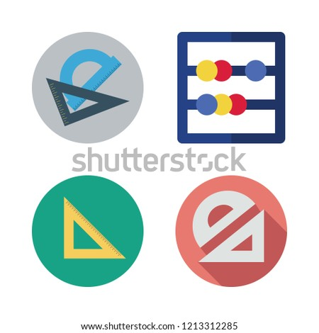 math icon set. vector set about set square, abacus and protractor icons set.
