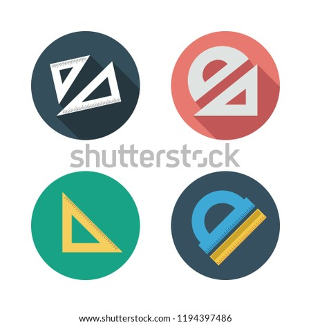 math icon set. vector set about set square and protractor icons set.