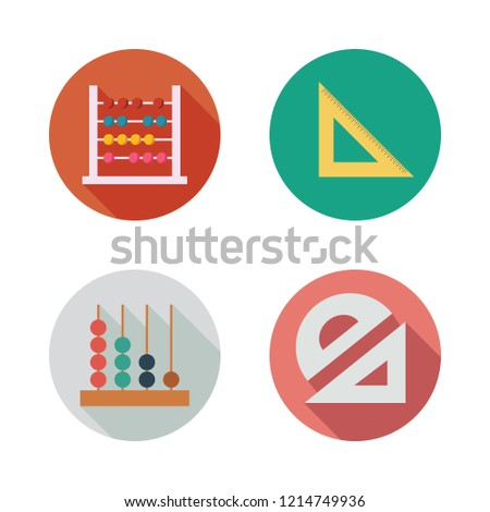 math icon set. vector set about set square, protractor and abacus icons set.