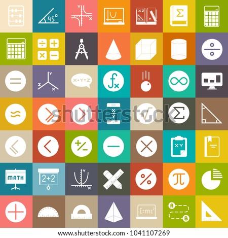 Math icons, education sign symbols, school icons