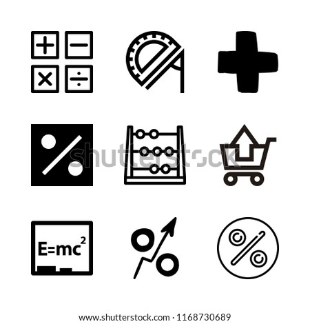 math icons set with percent, substracting of shopping cart and add symbol vector set