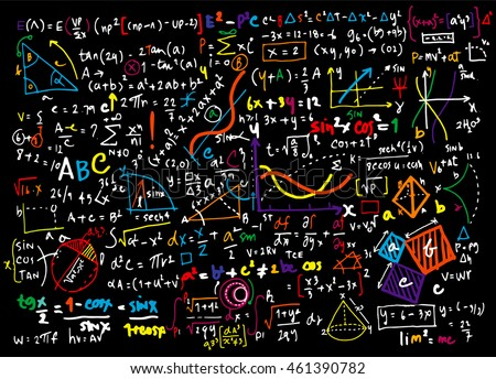 Math linear mathematics education circle background with geometrical plots, formulas and calculations.design concept ,Vector illustration.