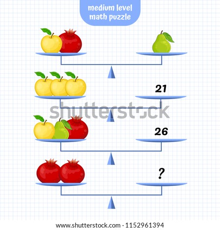 Math, Logic Puzzle Educational Game. Medium level. System of equations. Scales Mathematical Puzzle. Critical Thinking Skills Game. Vector illustration.