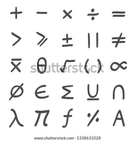 Math, mathematical Symbols hand drawn set #1338631028
