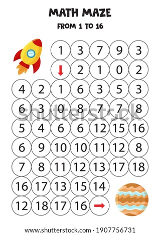 math maze with rocket and