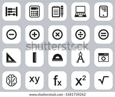 Math Or Math Science Icons. Black & White Big Set.