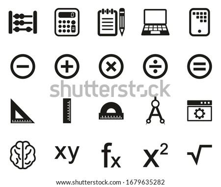 Math Or Math Science Icons Black & White Sticker Set Big
