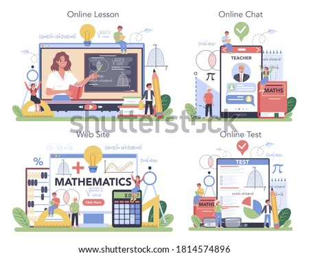 Math school online service or platform set. Learning mathematics, idea of education and knowledge. Online lesson, chat with professor, website, test. Isolated flat vector illustration