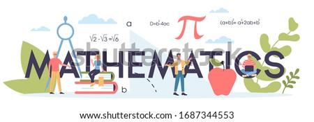 Math school subject. Learning mathematics, idea of education and knowledge. Science, technology, engineering, mathematics education. Isolated flat vector illustration