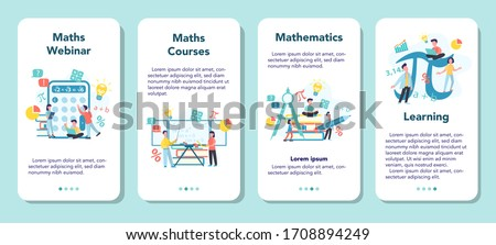 Math school subject mobile application banner set. Learning mathematics, idea of education and knowledge. Science, technology, engineering, mathematics education. Isolated flat vector illustration