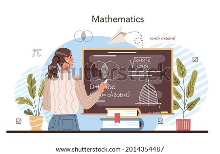 Math school subject. Students studying mathematics and algebra. Science, technology, engineering education. Idea of modern academic knowledge. Isolated flat vector illustration Foto stock ©