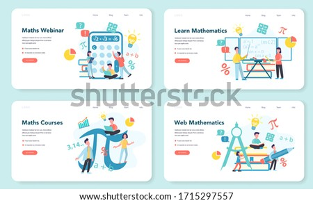 Math school subject web banner or landing page set. Learning mathematics, idea of education and knowledge. Science, technology, engineering, mathematics education. Isolated flat vector illustration
