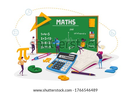 Math Science Concept. Tiny Male and Female Students Characters in Lab or School Class Learning Mathematics at Huge Blackboard. People Gaining Education and Writing Formula. Cartoon Vector Illustration Photo stock ©