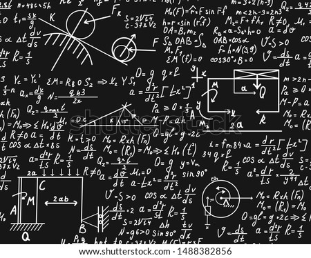 Math science vector seamless texture, mathematical formulas