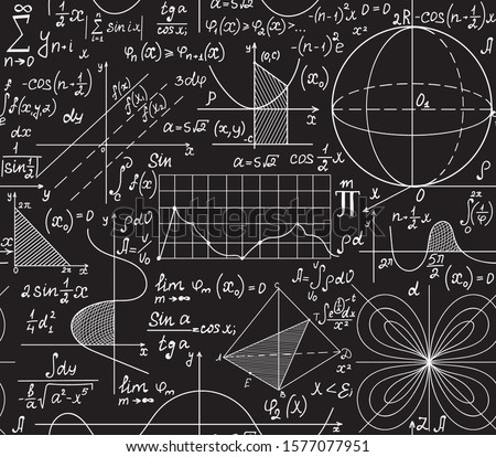 Math scientific vector seamless pattern with equations, formulas and calculations. You can use any color of background