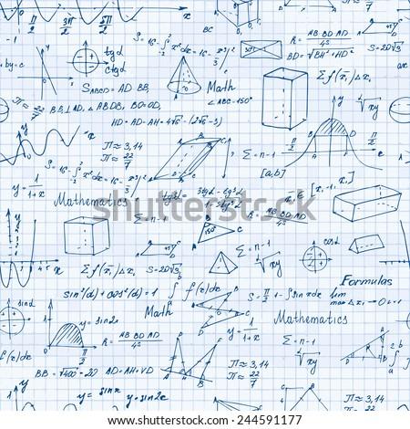 Math. Seamless pattern with trigonometry formulas. Vector illustration.