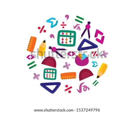 Math Stationery and Math Symbols Illustration