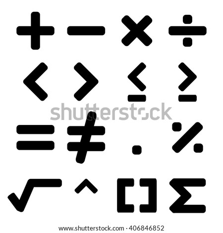 Math symbol in black color