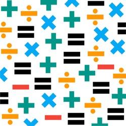 Math symbol pattern. Mathematics background from minus, plus, equal, division, multiplication.