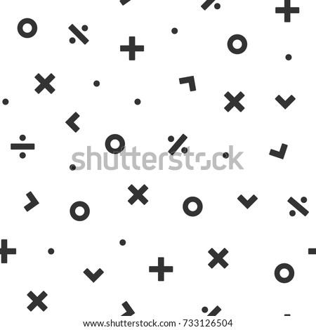 Math Symbol Seamless Pattern Vector Illustration Background For Scrapbook, Flyers, Posters, Web, Greeting Cards