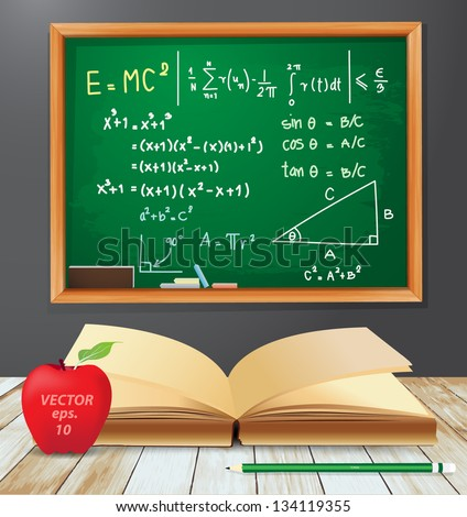 Math symbols emc2 concept, Chalkboard drawings with open book, red apple, pencil on wood plank texture background, Vector illustration template design