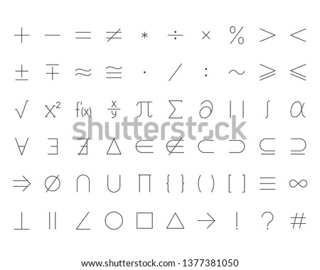Math symbols flat line icons set. Mathematical operations plus minus, multiply, infinity, vector illustrations. Outline signs for calculator, algebra, geometry. Pixel perfect 64x64. Editable Strokes.