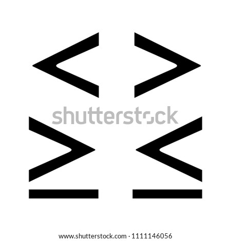 Math symbols glyph icon. Is less, greater or equal than signs. Silhouette symbol. Negative space. Vector isolated illustration