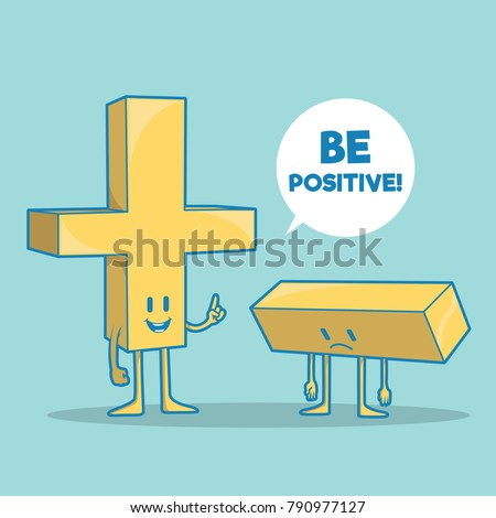 Math symbols vector illustration. Positive negative, motivation imagination design concept