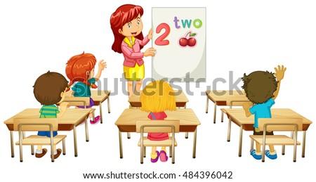 Math teacher teaching children in class illustration