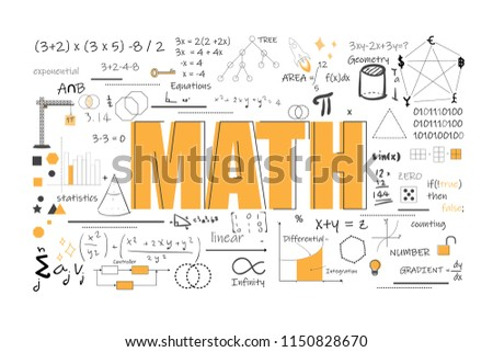 math theory and mathematical formula equation graph doodle handwriting icon on white background isolated eps10 vector illustration