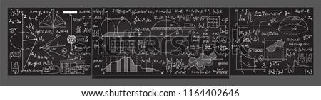 Math vector blackboard with handwritten math and physics formulas