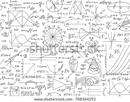 Math vector seamless pattern with geometrical figures, plots and formulas,