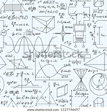 Math vector seamless pattern with handwritten mathematical and physical formulas, copybook sheet of paper