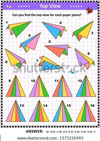 Math visual puzzle or picture riddle with colorful paper planes: Can you find the top view for each paper plane? Answer included.