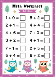 Math worksheet for kids. Addition. Mathematic activity page with cute owls. Calculate and write the result template. Vector illustration