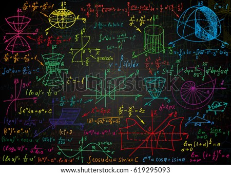 Mathematical colorful formulas drawn by hand on a black unclean chalkboard for the background. Vector illustration.