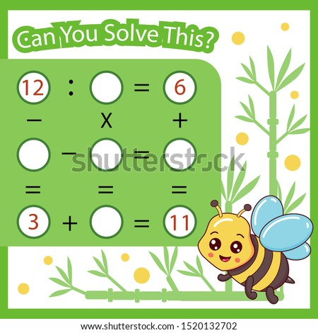 Mathematical count game for kids. Matching task with cute bee. Can You solve this? Children funny riddle. Mathematics vector activity page.