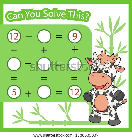 Mathematical count game for kids. Matching task with cute cow. Can You solve this? Children funny riddle. Find right answer. Mathematics vector activity page.