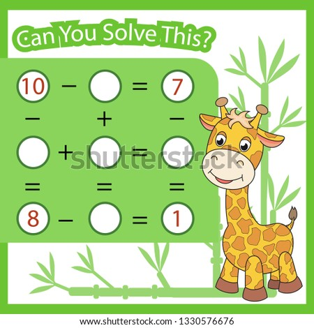 Mathematical count game for kids. Matching task with cute giraffe. Can You solve this. Children funny riddle entertainment. Find right answer. Mathematics vector activity page and game.