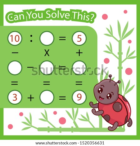 Mathematical count game for kids. Matching task with cute insect ladybug. Can You solve this? Children funny riddle. Find right answer. Mathematics vector activity page.